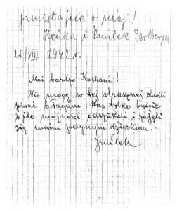 List Samuela i Henryki Perlbergerów do krewnych w USA.