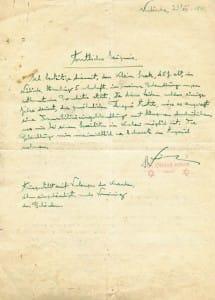 Zaświadczenie pochodzące z żydowskiego ambulatorium, wydane przez Otmara Reinera 23 grudnia 1941 roku. Dokument został odkryty przypadkowo na odwrocie ogłoszenia o wydawaniu kart żywnościowych z 1946 roku, które wydrukowano na niezapisanym rewersie zaświadczenia.