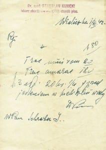 Wyniki badania płuc Izaaka Schreibera, Wieliczka 1942 rok.